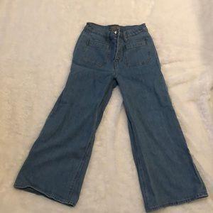 J Crew Point Sur cropped wide leg jeans